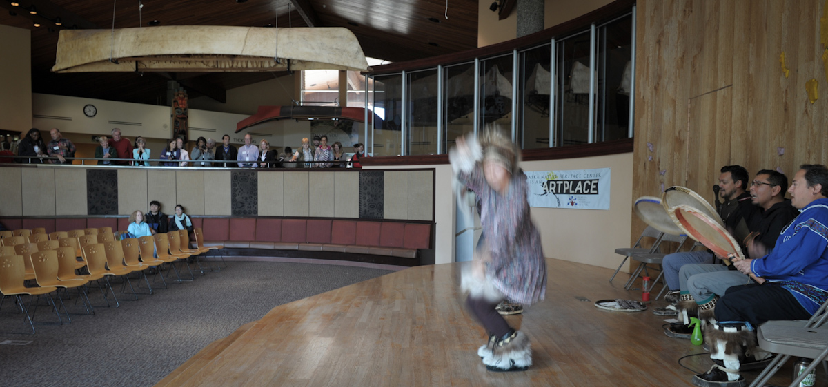 Alaska Native Heritage Center dancers perform for a Rasmuson Foundation field trip.