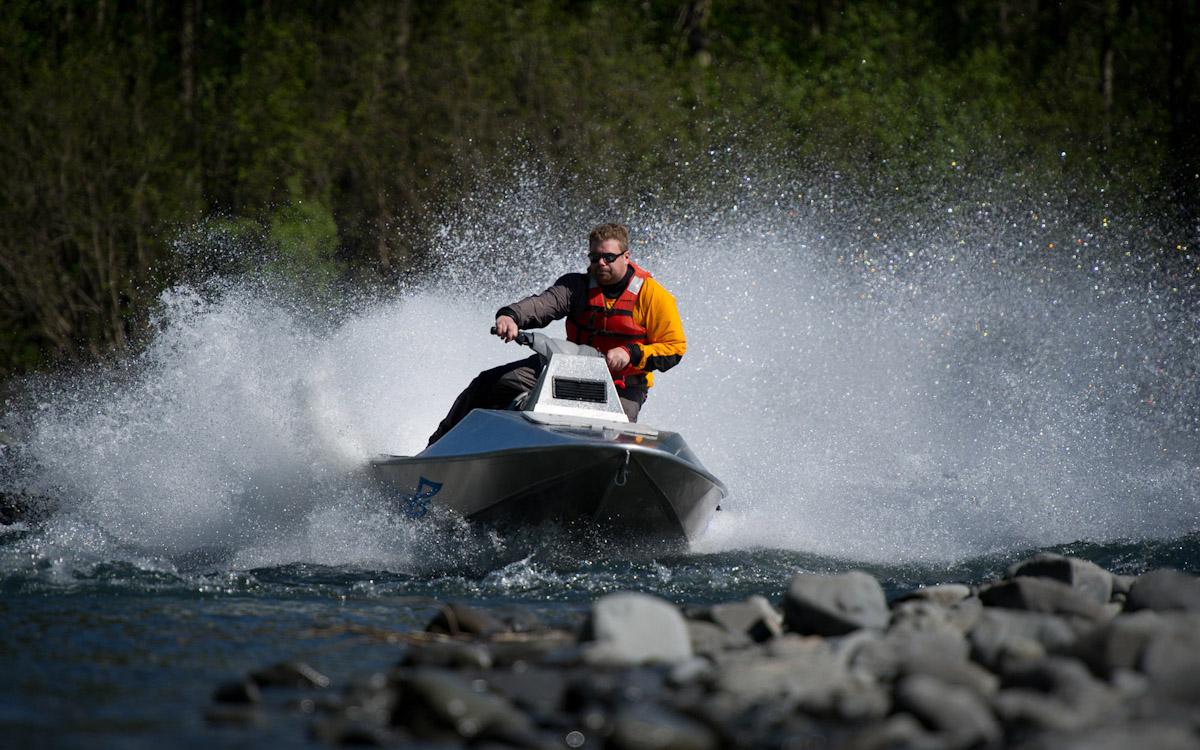 Business Portrait of Brian McKinnon of McKinnon Marine Technologies with his Aluma Ski jet boat.