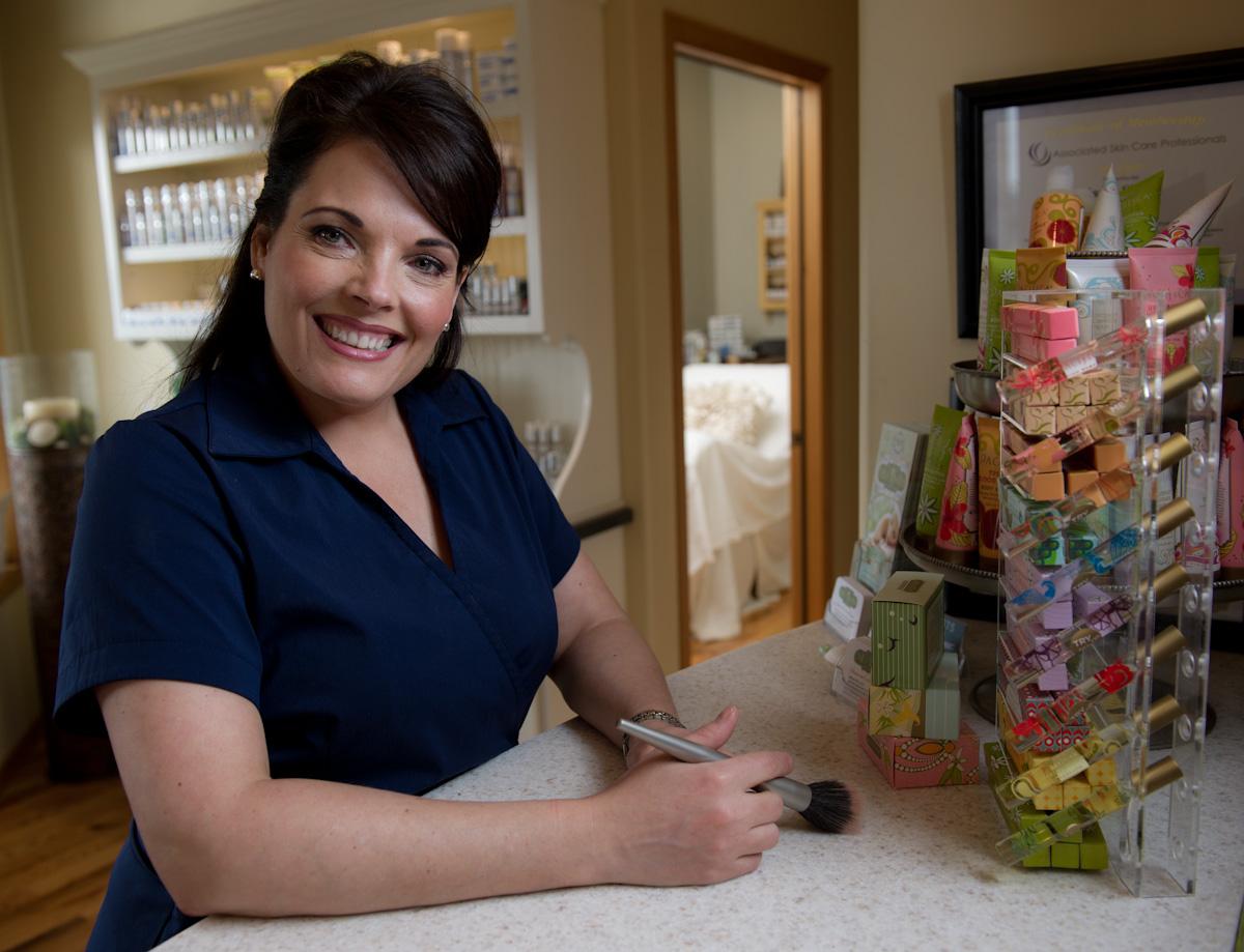 Business Portrait of Karen Shealy, Sea-Glo Asthetics in Homer.