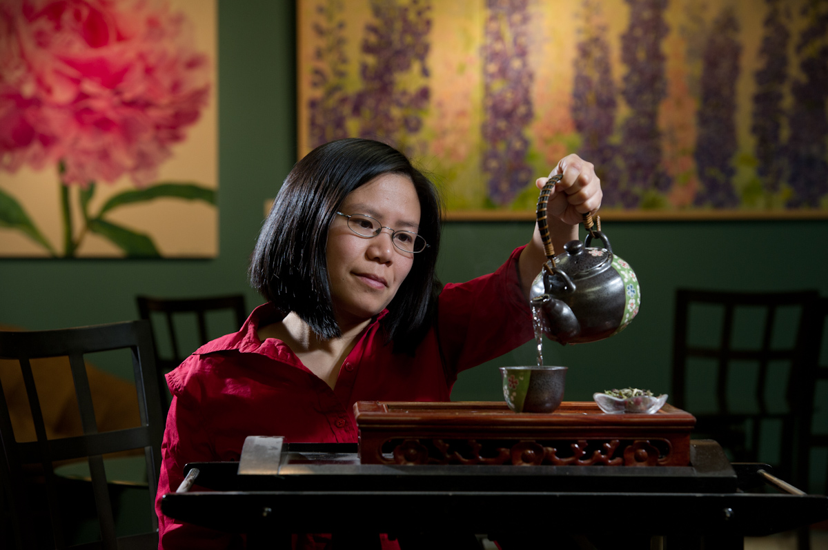 Business Portrait of owner Jenny C Tse of Sipping Streams Tea Company in Fairbanks, Alaska.