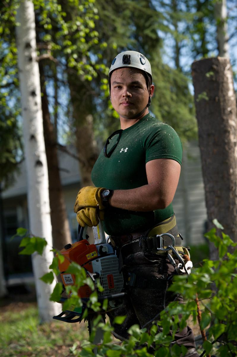 Business Portrait of Erik Johnson, owner of Great Alaska Tree Company in Fairbanks, Alaska.