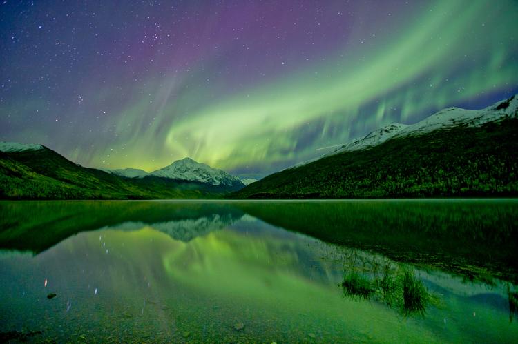 Aurora reflected in Eklutna Lake.