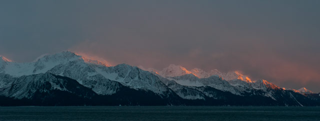 Sunset in the mountains of Resurrection Bay.