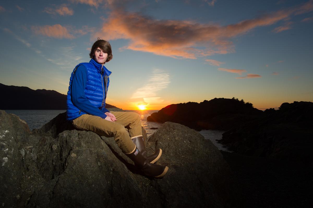 Senior Caleb Hall takes advantage of a Turnagain Arm sunset.