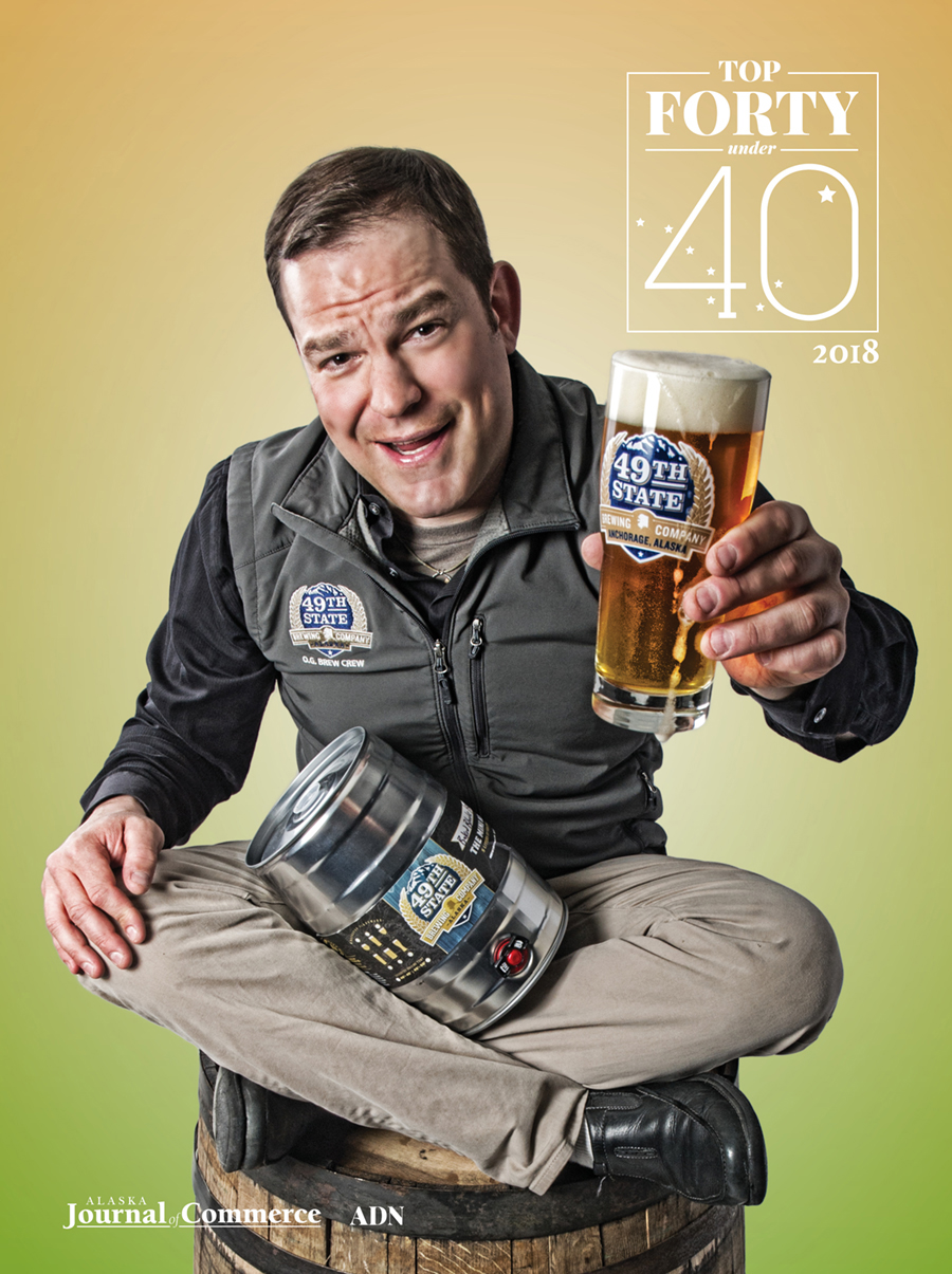 Jason Motyka of 49th Street Brewery graces the cover of the 2018 Top Forty magazine.