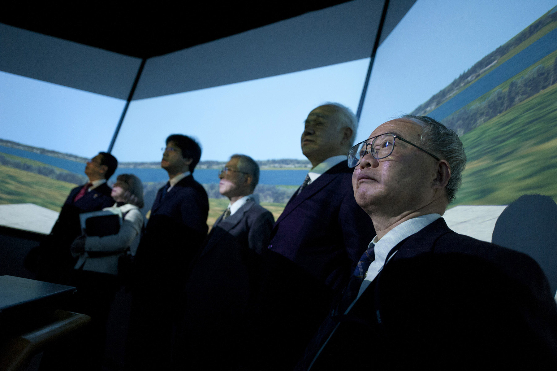 Visitors to UAA's Air Traffic Control Simulator take in the view.